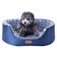 All Season Pet Dog Bed Detachable Puppy Cat House Star Paw Comfortable Pad Sofa Mat Coral Fleece Bed for Small Medium Large Dogs