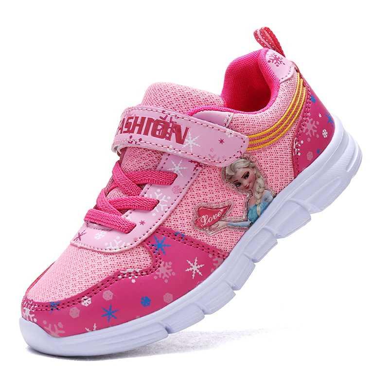 Kinderen Schoenen 2019 Lente Nieuwe Mesh Ademend Sneakers Meisjes Schoenen elsa schoenen Cartoon Prinses Platte Bodem Running Schoen Kids
