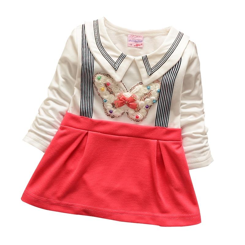 0-2 jaar 2015 nieuwe lente katoen met lange mouwen ronde hals riem - Babykleding