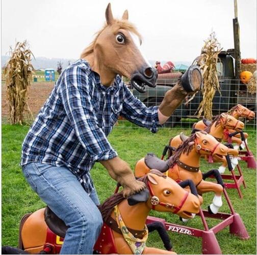 Pulsuz Göndərmə Creepy At Unicorn Hooves Halloween Head lateks - Şənlik aksesuarları - Fotoqrafiya 4