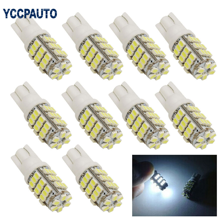 T10 Turn Signal Lights Auto Car LED Lamp Side Marker Light Bulb 194 927 161 168 W5W 1206 42 smd 10pcs White DC12V