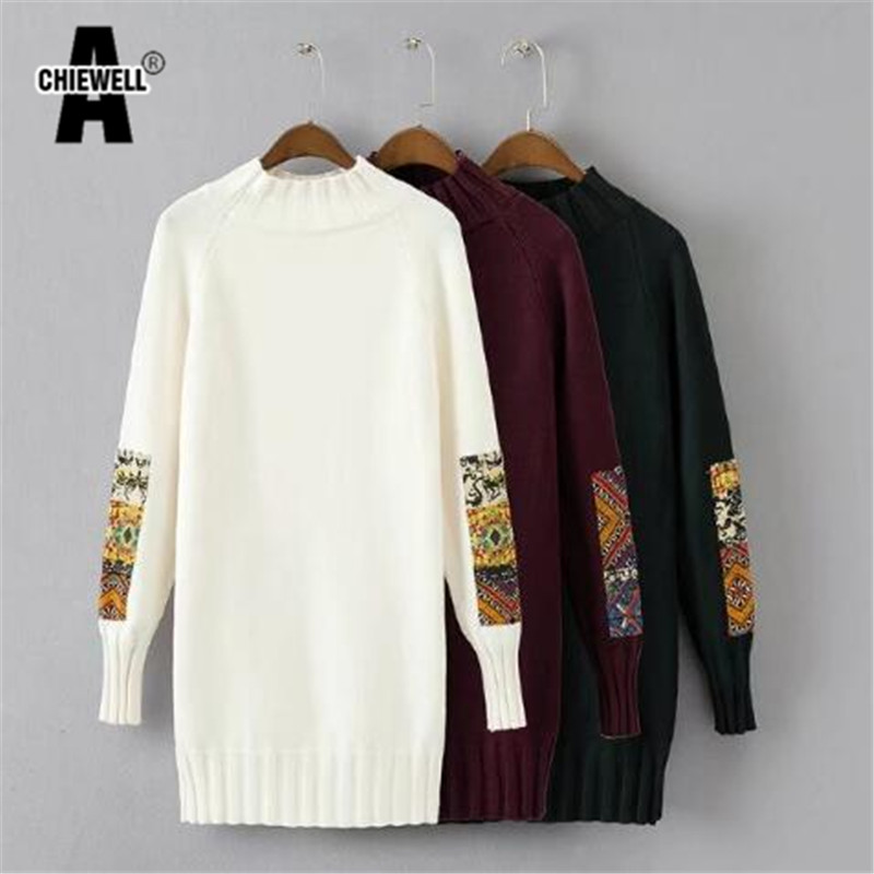 Achiewell 2017 New Autumn Winter Christmas Sweater Women Casual Loose Indie Folk Pullover Female Patch Knit Sweater Dress