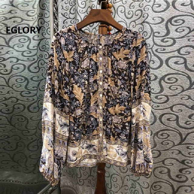 High Quality Blouses 2019 Spring Summer Tops Shirt Women Vintage Print Long Sleeve Casual Loose Blouse Bohemian Tops Female