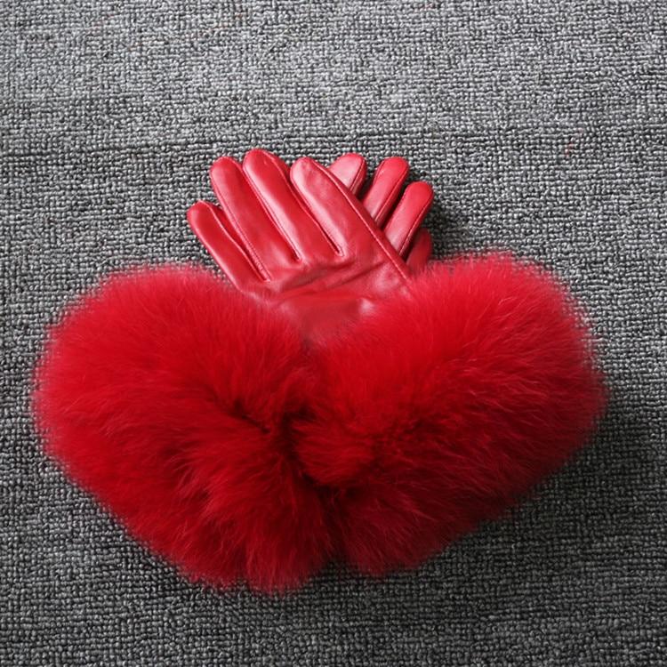Gant en cuir véritable laine garder au chaud épaissir gants élégants pour dame