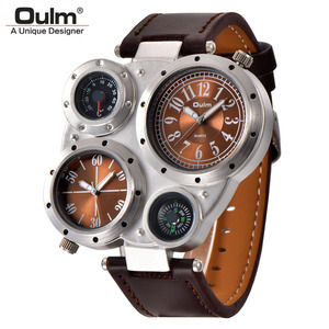 Image 5 - Oulm Unique Sports Mens Watches Top Brand Luxury 2 Time Zone Quartz Watch Decorative Compass Male Wrist Watch
