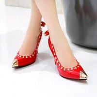 Herfst schoenen vrouw mode klinknagel puntschoen hoge hak schoenen vrouwelijke dunne hakken wit rood kleur ondiepe party damesschoenen pompen