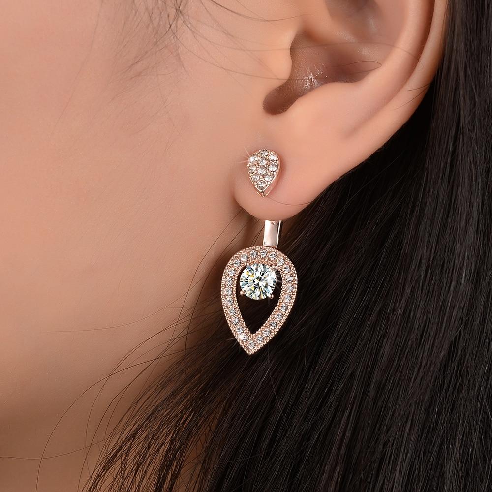 Elegant Full Bling Crystal Water Drop Ear Jacket Cuff Earrings Gold Color  Double Side Zircon Piercing