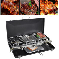 Portable Tabletop Dual Burner Heater BBQ Gas Stove Grill Cooker Outdoor Camping Cold Rolled Sheet Stainless Steel Easy Safe