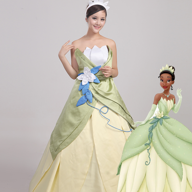 Wonder woman cosplay The Princess and the Frog costume adult princess tiana dress for Halloween costume long green Party dress (1)