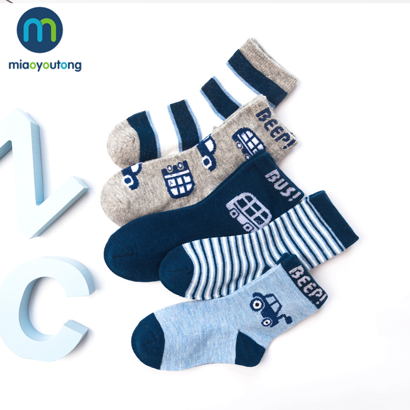 10 Pieces/lot 5 Pair Lovely Car Text Safe Comfort Skarpetki Newborn Sock Kids Boy Knit Cotton Soft Baby Socks Girl Miaoyoutong
