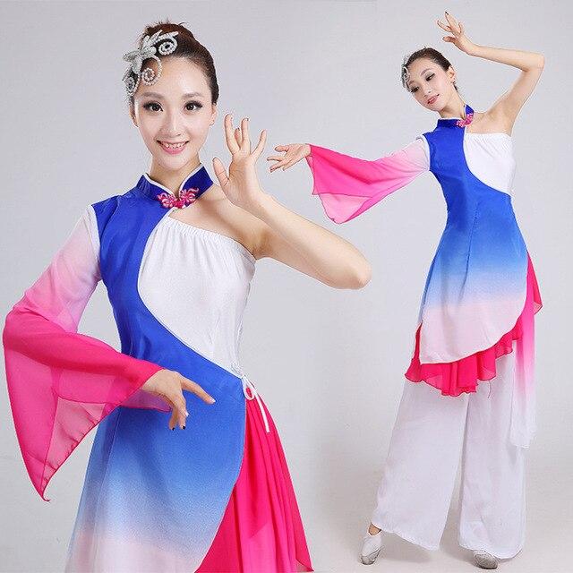 ddc6ed575 € 30.64 22% de DESCUENTO Disfraces de niños adultos ropa de baile nacional  mujeres danza moderna Yangko baile traje chino baile clásico disfraces ...