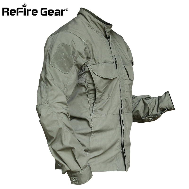 ReFire Gear armée Camouflage militaire chemise hommes imperméable SWAT Combat tactique chemises vêtement d'extérieur de printemps nombreuses poches Cargo chemise