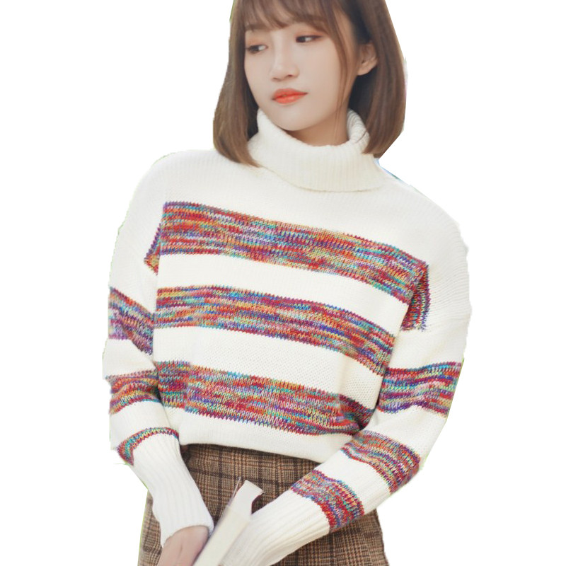 Turtleneck Sweater Women Pullovers Spring Autumn Short Coat Long Sleeve Warm Female Patchwork Colored Knit Sweater Harajuku H094