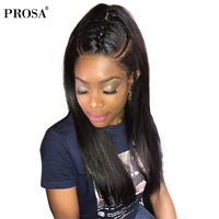 360 Lace Frontal Wig Pre Plucked With Baby Hair Full Ends Silky Straight Lace Front Human Hair Wigs For Women Black Prosa Remy