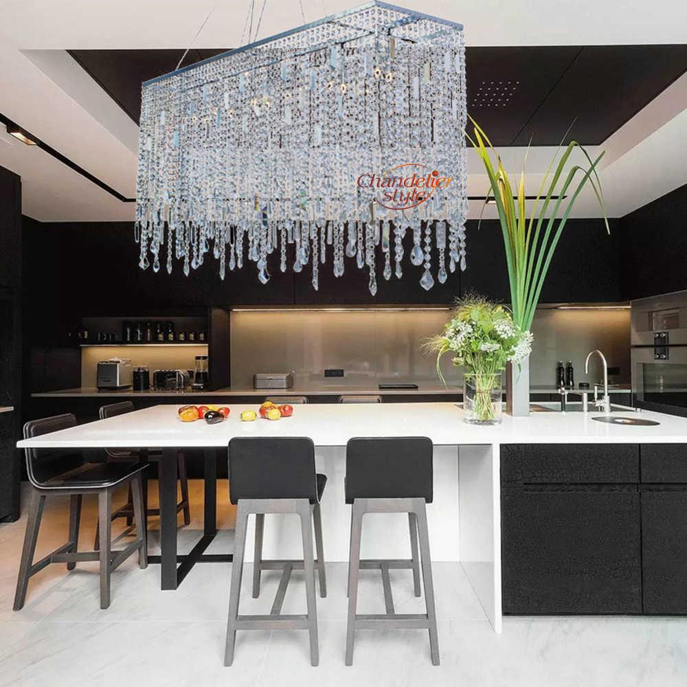 Современная линейная хрустальная люстра освещение прямоугольный прозрачный Cristal люстра свет подвесной светильник для гостиной столовой
