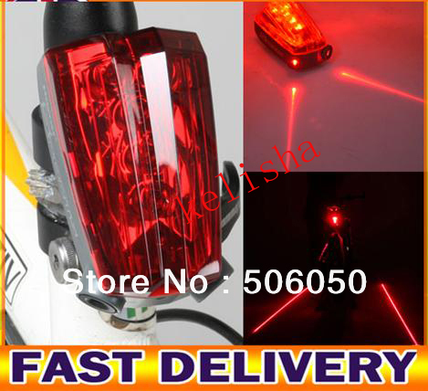 Free shipping Bicycle Bike 5 Led Red + 2 Laser Beam Cycle Lights Safety Rear Tail Flash Light Lamp