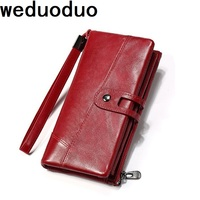 Weduoduo New Brand Genuine Leather Women Wallets Fashion Long Women Purses Multi Function Money Pocket Cell Phone Pocket