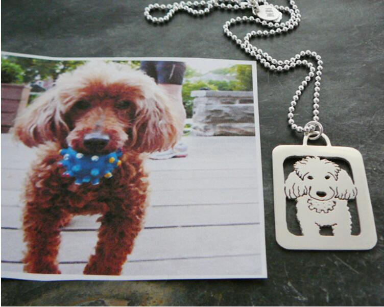 Hand Cut Coin Dog Jewelry Poodle Necklace