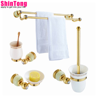 Bathroom hardware kit bath accessories set bathroom towel holder golden brass With jade European style ShinTong