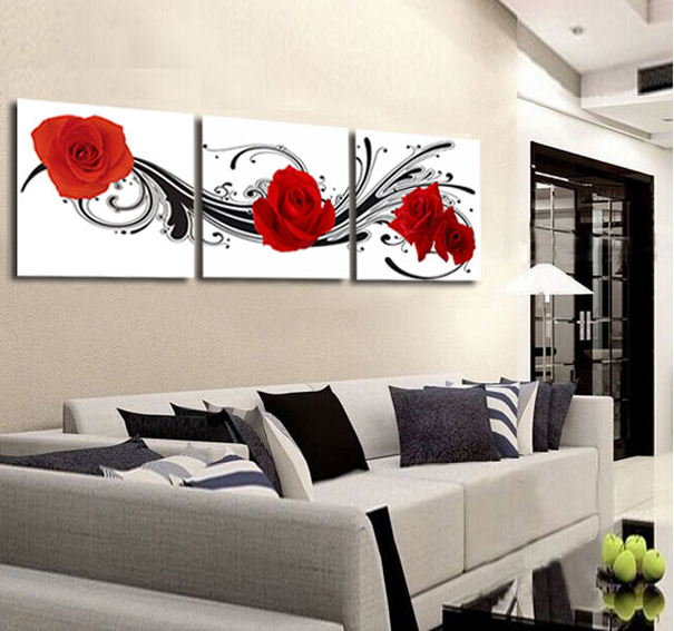 Flower Red Rose Painting 3 Panel Wall Art Canvas Wall Pictures For Living  Room Modern Home