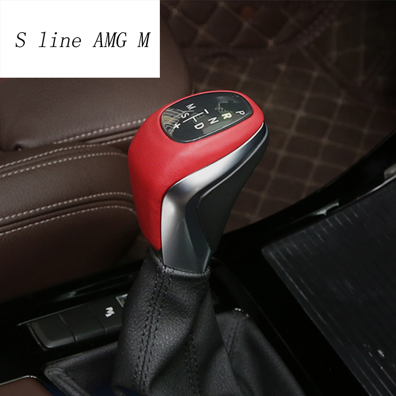 Car Styling leather Central Handbrake Gear Shift Head Decorative Covers Trim Sticker For BMW X1 F48 2 series Active Tourer f46