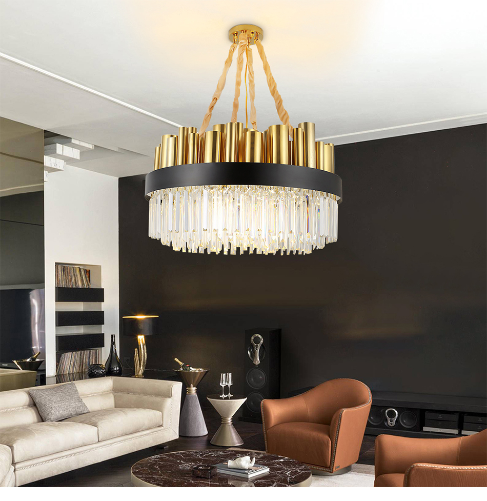 Luxury Crystal Chandelier Lighting For Living Room Large Round Dining Room Crystals