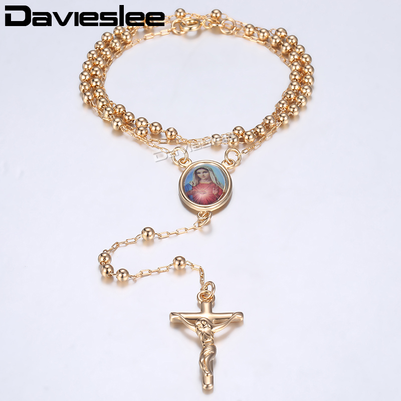 Davieslee Rose Gold Filled Necklace Bead Chain Jesus Christ Cross Pendant Rosary Necklace Womens Gifts Jewelry Wholesale LGN464