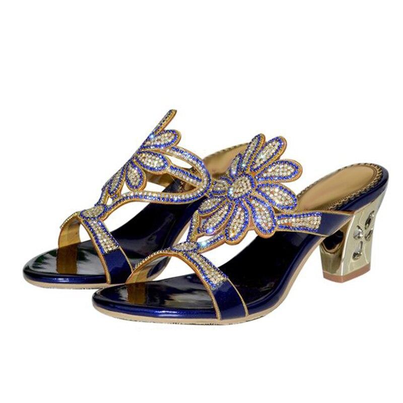 Las Verano 2018 azul 43 Grande Nuevo 42 Pequeño Corte Negro Tacón Suntuoso Alto Moda Mujeres De Grueso 33 Zapatillas Flores oro Sexy wrrq5FRt