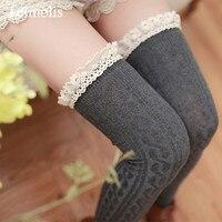 Cinco pares/pacote de doces de algodão de cor sólida grosso lace ruffles bas meias lingerie sexy joelho meias altas da coxa longa medias meias