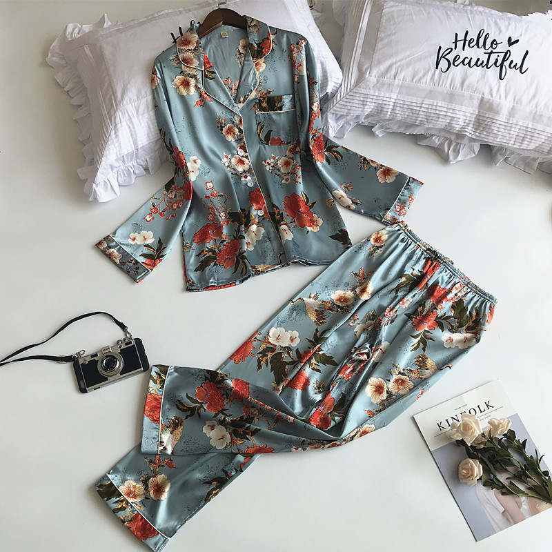 Lisacmvpnel Autumn Printing Pattern   Pajama     Set   Rayon Sleepwear Long Sleeve 2 Pcs   Pajamas   For Women