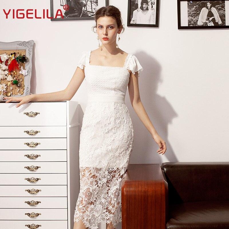YIGELILA mode femmes blanc gaine robe de soirée d'été col carré Flare manches Empire mi-long évider dentelle robe 64136