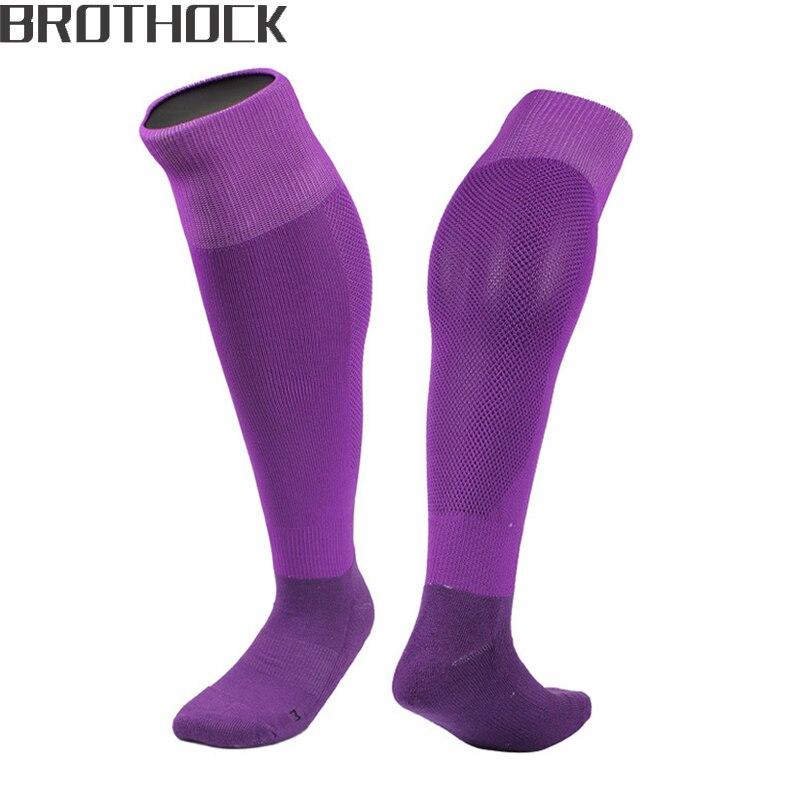 Brothock Football Socks Men Training Outdoor Quick-dry Running Pure Sports Socks Long Tube Towel Bottom Anti-skid Soccer Socks