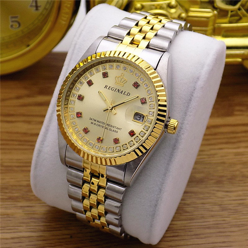 Fashion REGINALD Brand Woman Man Lovers Full Golden Luxury Steel Lady Watch Date Crystal Styles Women's Dress Clock Water Proof