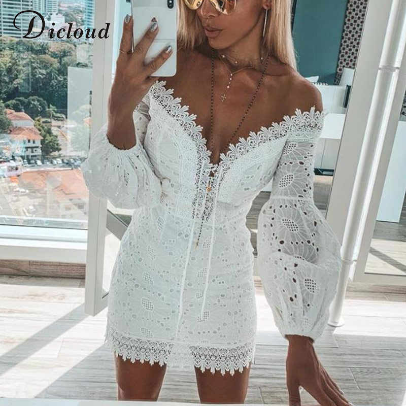 DICLOUD White Embroidery Elegant Spring Summer Bandage Dresses Women Beach Sundress Sexy Off Shoulder Short Party Wrap Bodycon