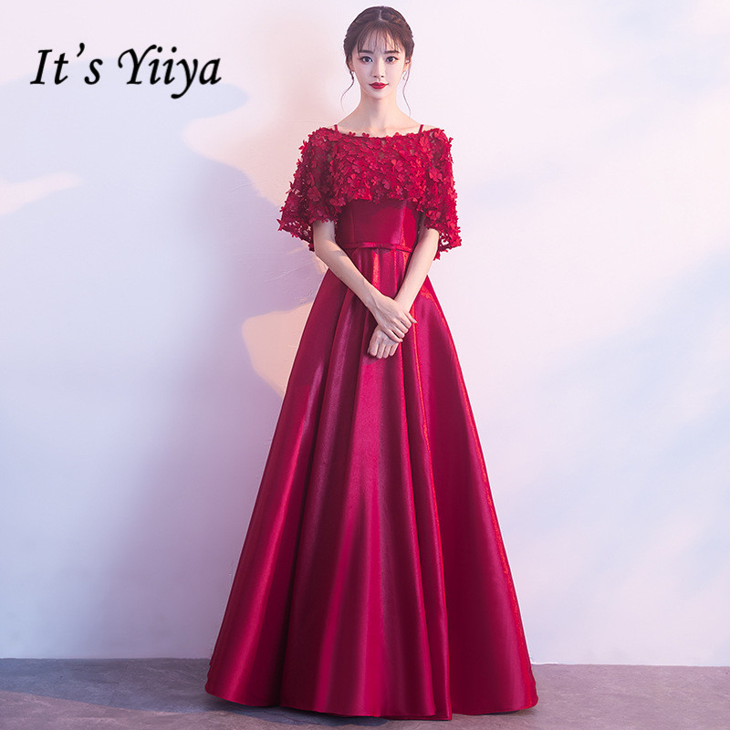 It's YiiYa Evening Dress Wine Red Fake Shawl Fashion Party Dresses Boat Neck Short Sleeve Formal Gown For Women E051