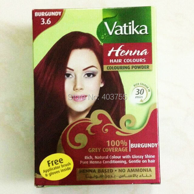 Vatika Henna Hair Coloring Hair Dye Powder Burgundy 100 Grey
