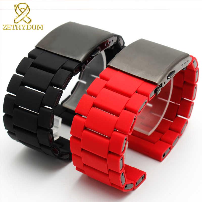 8b9decc3ac21 ... Impermeable de silicona pulsera de reloj diesel banda 28mm DZ7396  DZ7370 DZ428 caucho y acero inoxidable ...