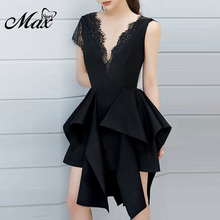 Max Spri 2019 New Sexy Ruffles V Neck Lace Hollow Out Women Sleeveless Strapless Knee-Length Asymmetrical Hem Lady Party Dress цены