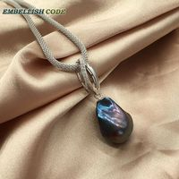 black color zircon boat long shape 18'' to 20'' baroque pendant necklace flame ball pearls Durable adjust snake chain 925 silver