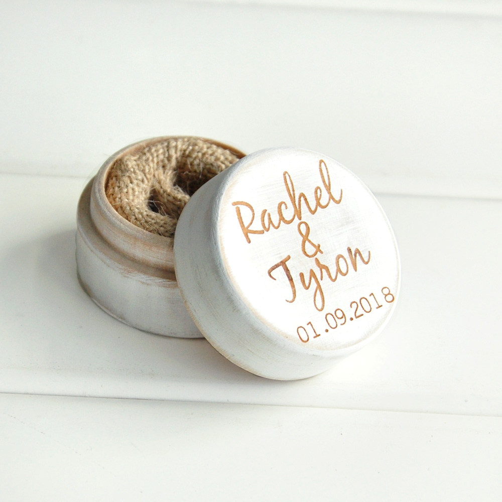 Personalized Rustic Wedding Wood Ring Box Holder Custom Your Names White Wedding Ring Bearer Box