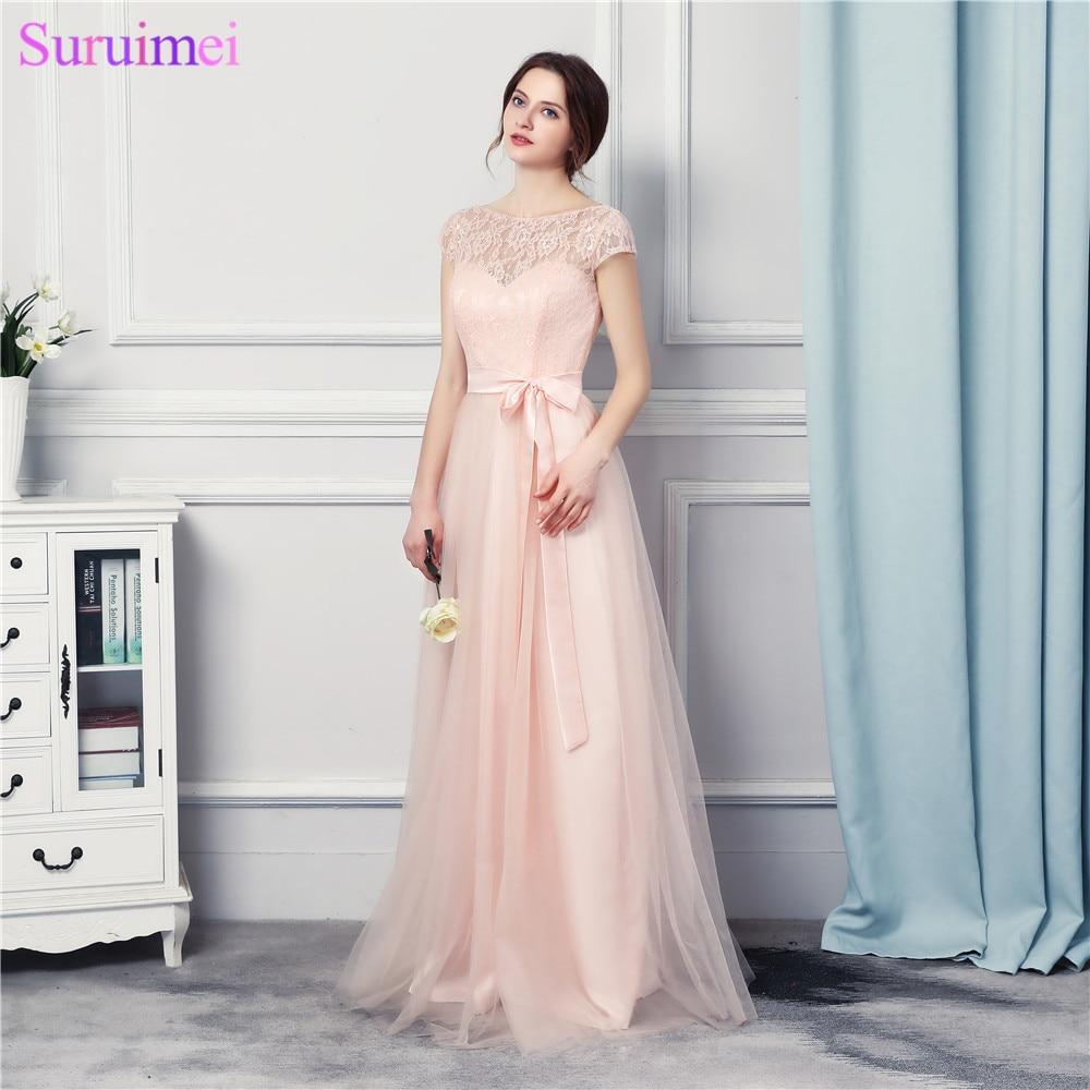 Bridesmaid Dresses Long 2017 New Designer Tulle Lace Garden Wedding Event Vestido Madrinha Pearl Pink Brides Maid Dress