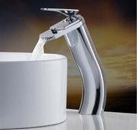 fashion high quality unique design bathroom high waterfall sink faucet basin faucet tap mixer with 50 cm plumbing hose