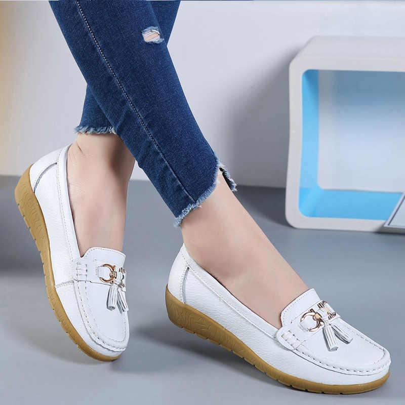 Platte schoenen vrouwen Echt lederen Mode casual Superster dames loafers fringe effen vrouwelijke schoen Zachte Plus size 42-44