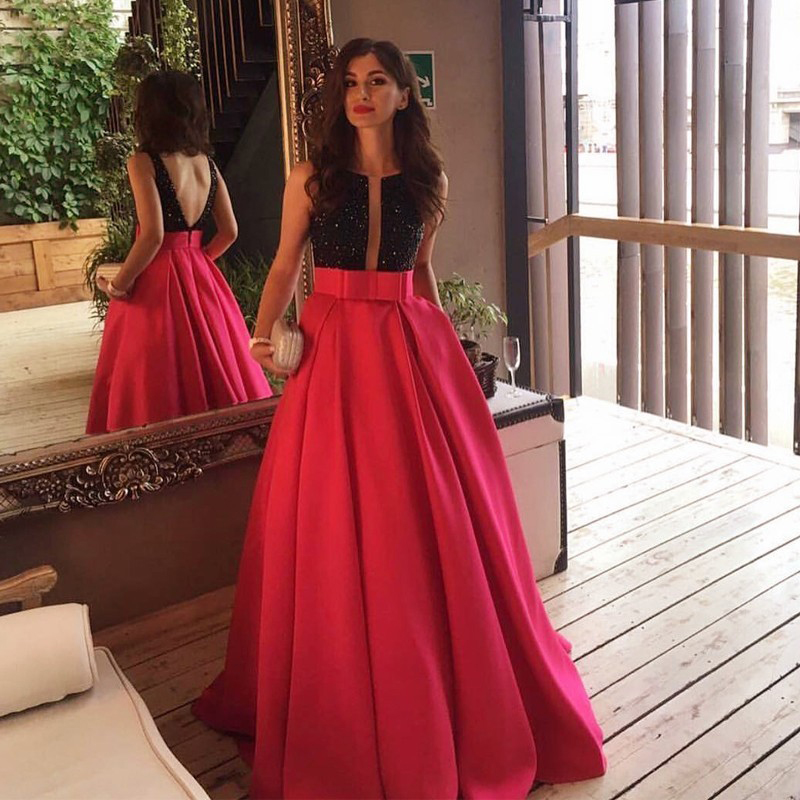 Elegant Formal Red Satin Ball Gowns With Bow For Women To Formal Party Zipper Floor Length Custom Made Maxi Skirt 2017 New