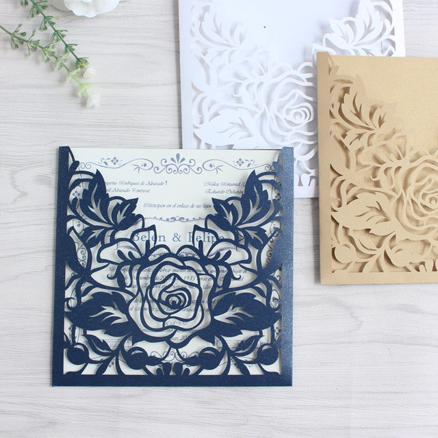 Rose Laser Cut Wedding Invitation Pocket Navy Blue White Gold Flower