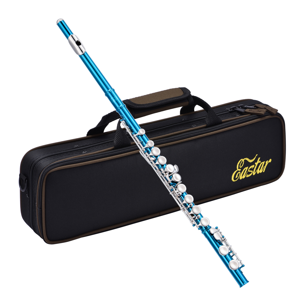 Eastar Close Hole C Flute Instrument Kits 16 Keys Nickel Plated Professional Musical Woodwind + Flutes Bag Stand Cleaning Tool
