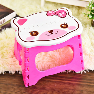 купить Cartoon Pink Cat with Bow Tie Stool Portable Folding Ottoman Plastic Sports Home Step Fishing Useful Outdoor For Girl дешево