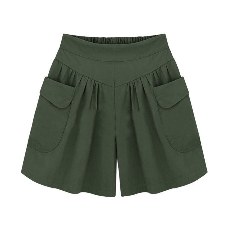 2019 Summer Loose Plus Size   Shorts   Women XL-5XL Wide Leg Female   Shorts   Casual Ladies Khaki High Waist Thin Novelty Color   Shorts