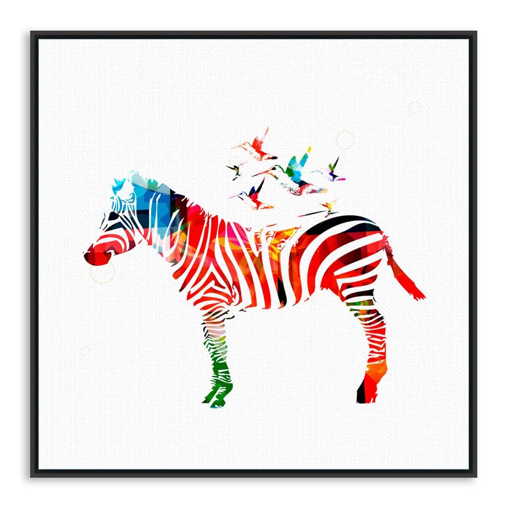 Sodobna divjad, barvita zebra risanka živali A4 velik umetniški - Dekor za dom - Fotografija 5