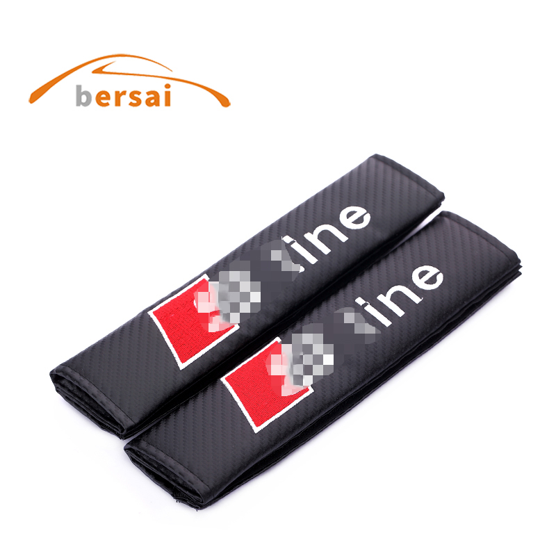 цена на 2pcs Carbon fiber seat belt cover shoulder pad Car styling For Audi S Line For Audi A3 A4 A6 A7 A8 B6 B7 Q3 Q5 Q7 Q8 accessories